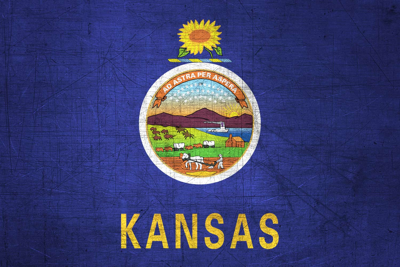 Kansas Flag - Stainless Steel Background