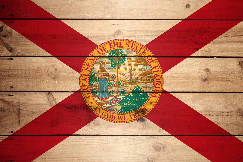 flag of florida - wood texture
