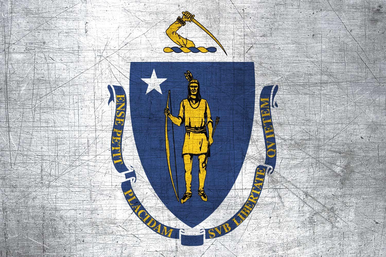 massachusite flag metal  flag of massachusetts